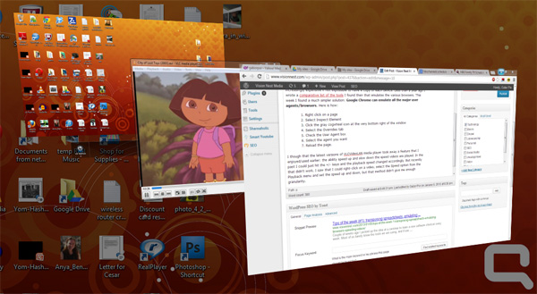 Screenshot of stack of open windows