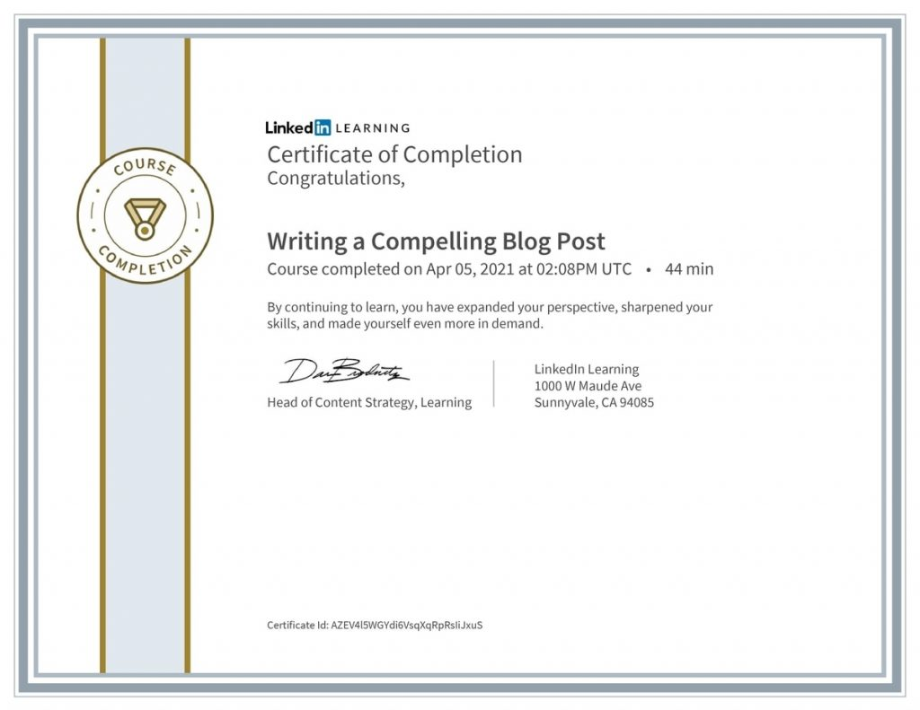Writing a Compelling Blog Post course certificate